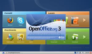 La videata di avvio di OpenOffice.org 3.0 sul mio Acer Aspire One